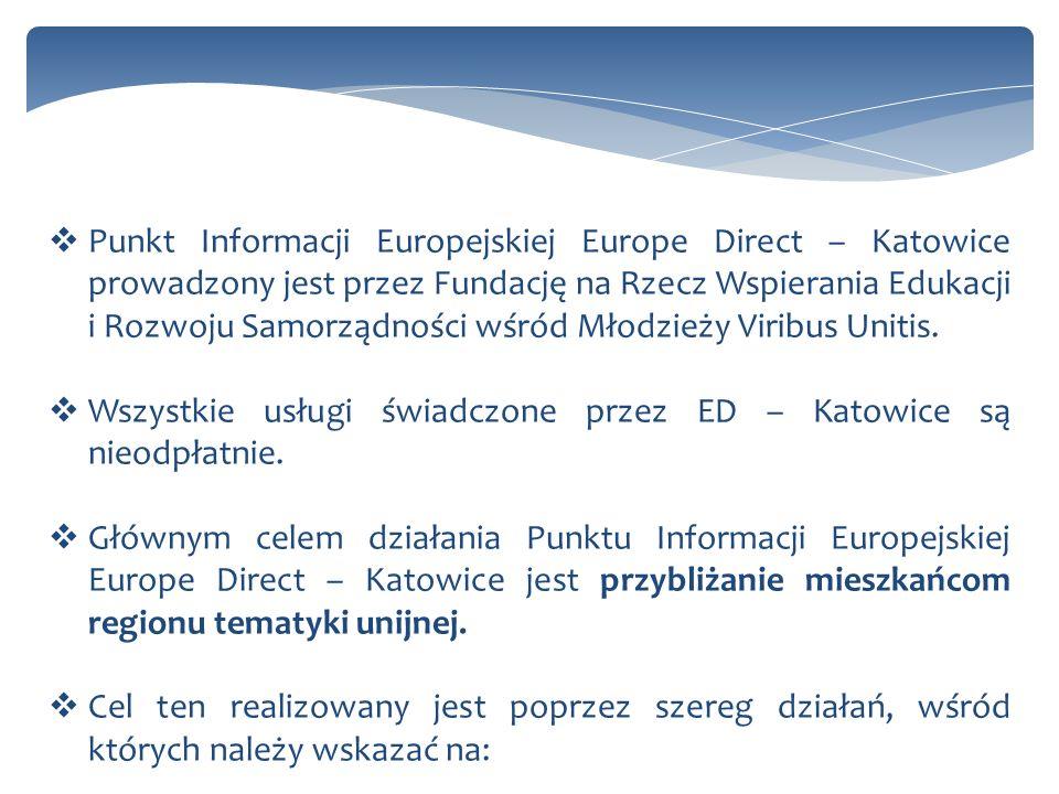 Punkt Informacji Europejskiej Europe Direct – Katowice prowadzony jest przez Fundację na Rzecz Wspierania Edukacji i Rozwoju Samorządności wśród Młodzieży Viribus Unitis.