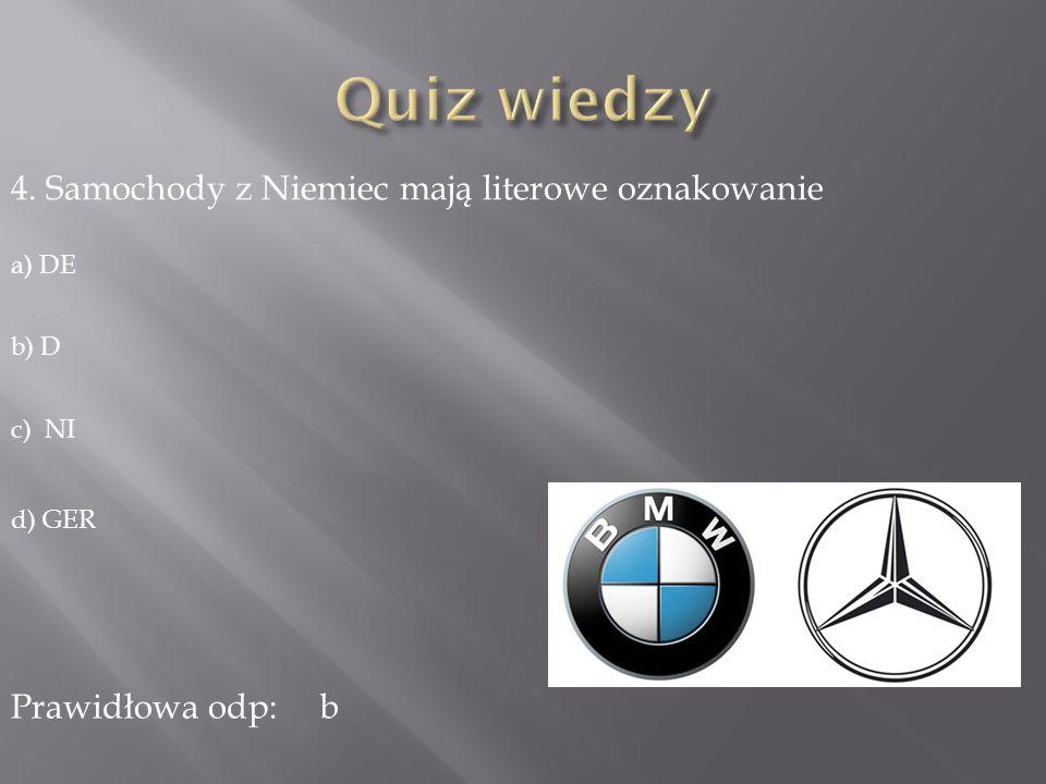 Quiz wiedzy 4. Samochody z Niemiec mają literowe oznakowanie