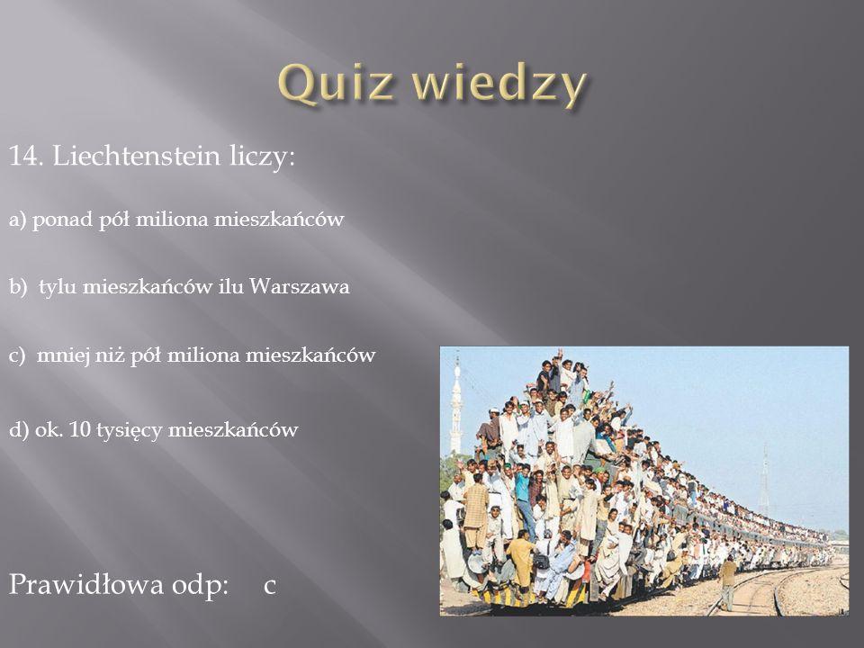 Quiz wiedzy 14. Liechtenstein liczy: Prawidłowa odp: c