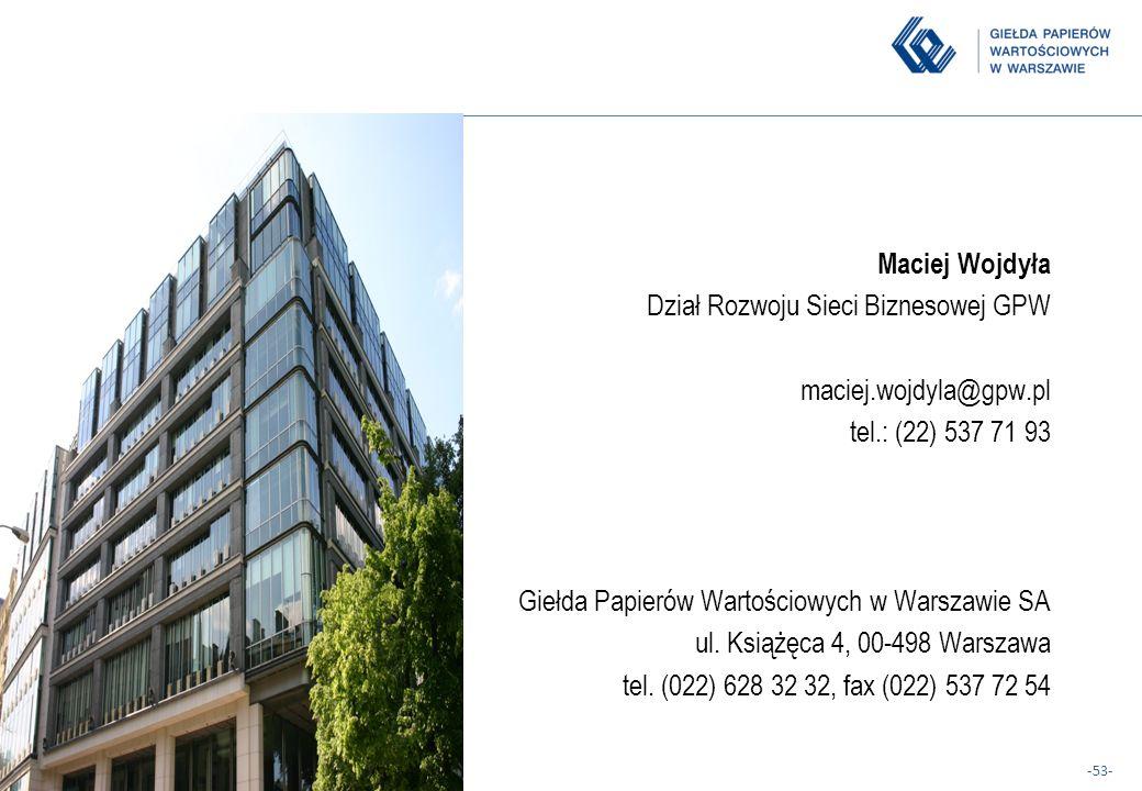 Maciej Wojdyła Dział Rozwoju Sieci Biznesowej GPW. maciej.wojdyla@gpw.pl. tel.: (22) 537 71 93. Giełda Papierów Wartościowych w Warszawie SA.