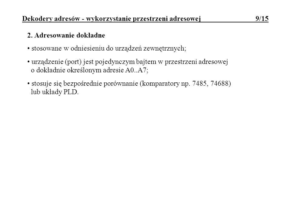 Dekodery adresów - wykorzystanie przestrzeni adresowej 9/15