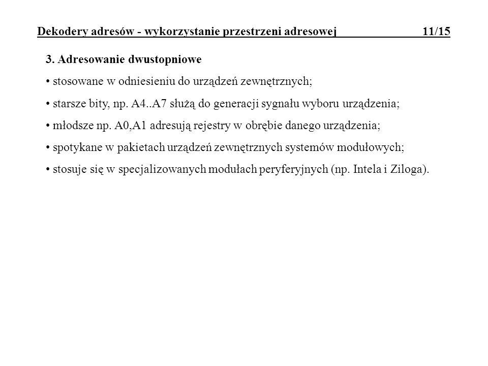 Dekodery adresów - wykorzystanie przestrzeni adresowej 11/15