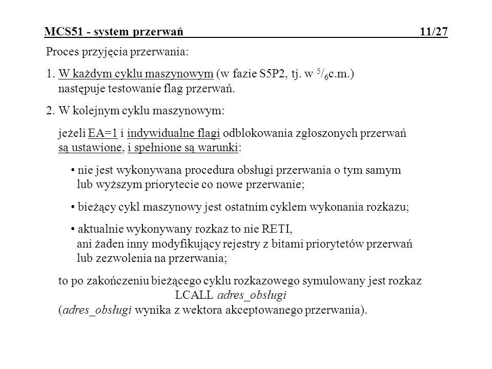 MCS51 - system przerwań 11/27