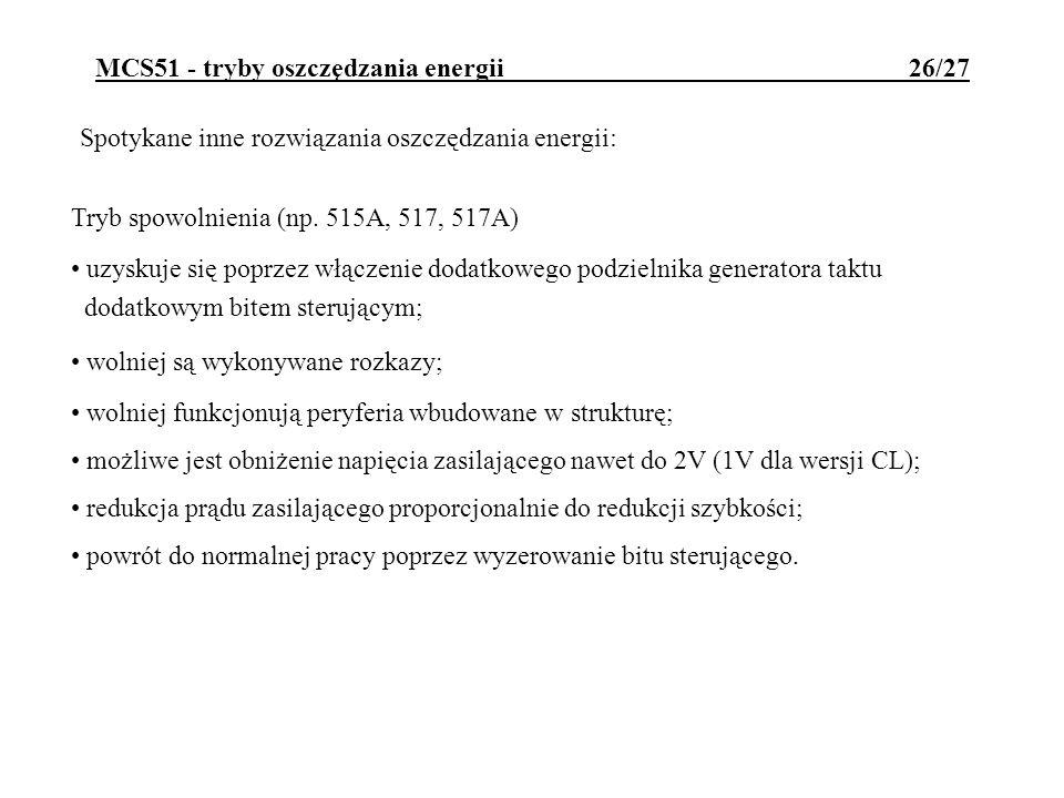 MCS51 - tryby oszczędzania energii 26/27