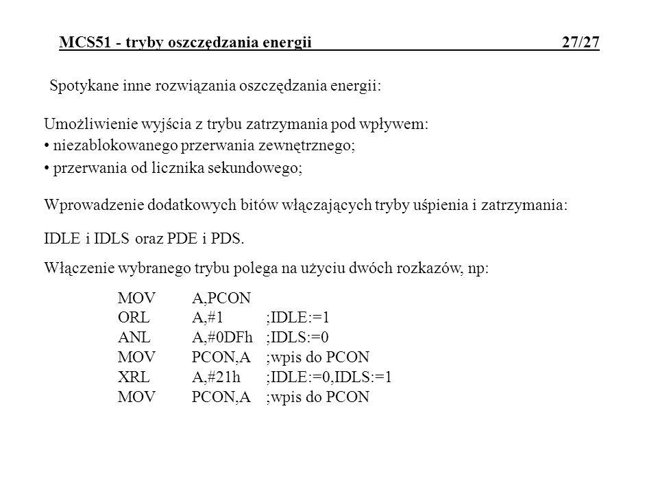 MCS51 - tryby oszczędzania energii 27/27