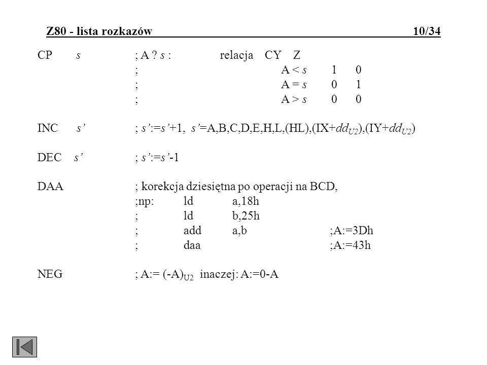 Z80 - lista rozkazów 10/34