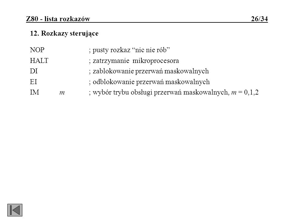 Z80 - lista rozkazów 26/34
