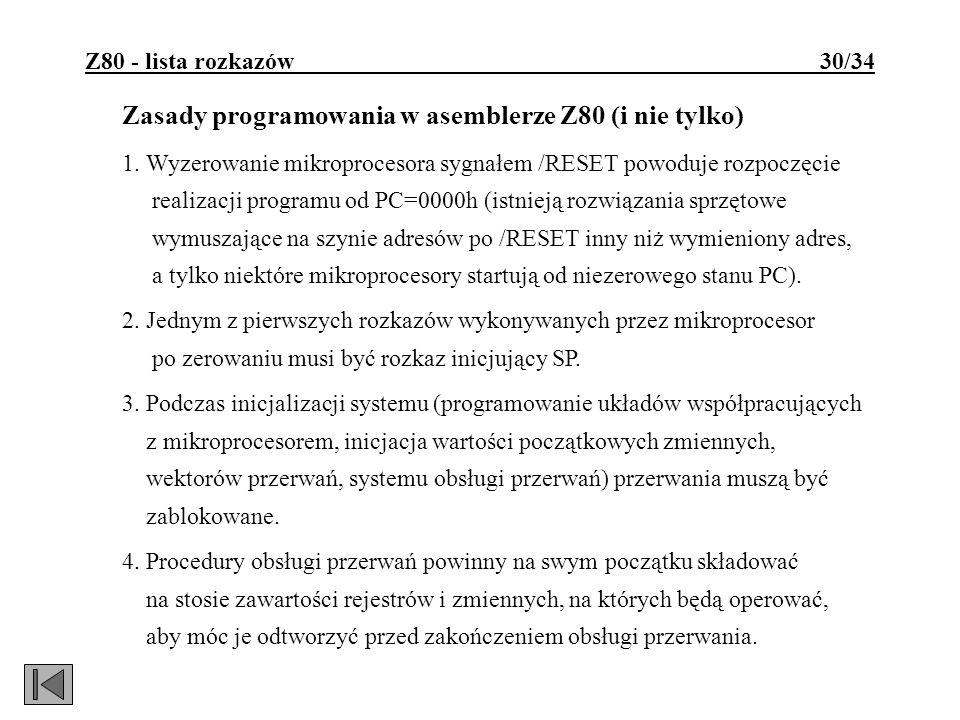 Zasady programowania w asemblerze Z80 (i nie tylko)