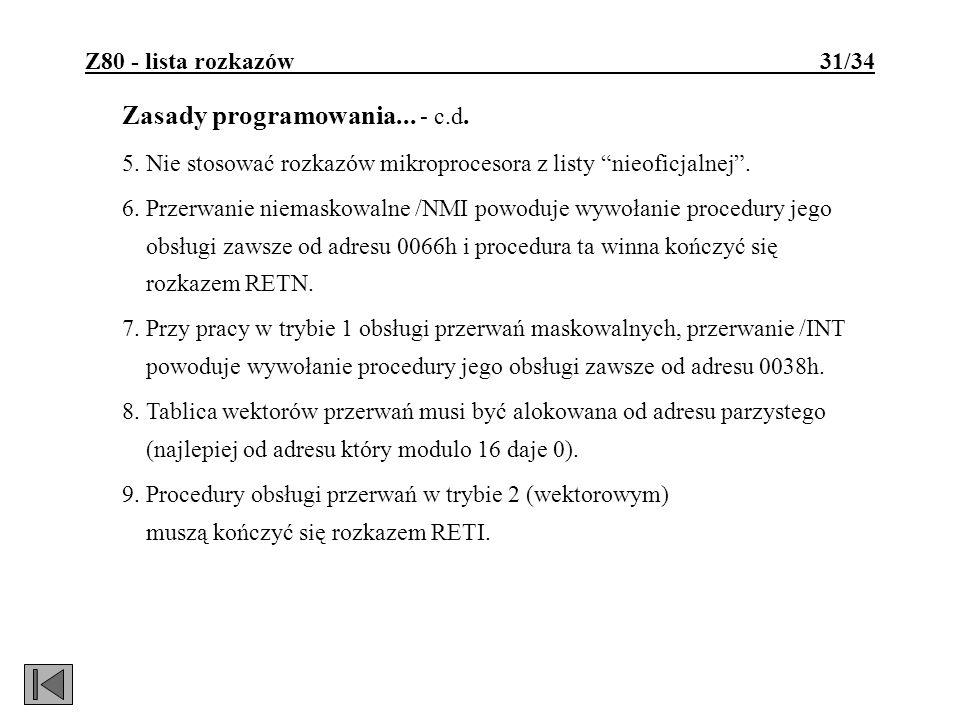 Zasady programowania... - c.d.