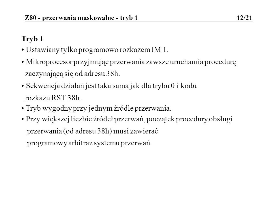 Z80 - przerwania maskowalne - tryb 1 12/21