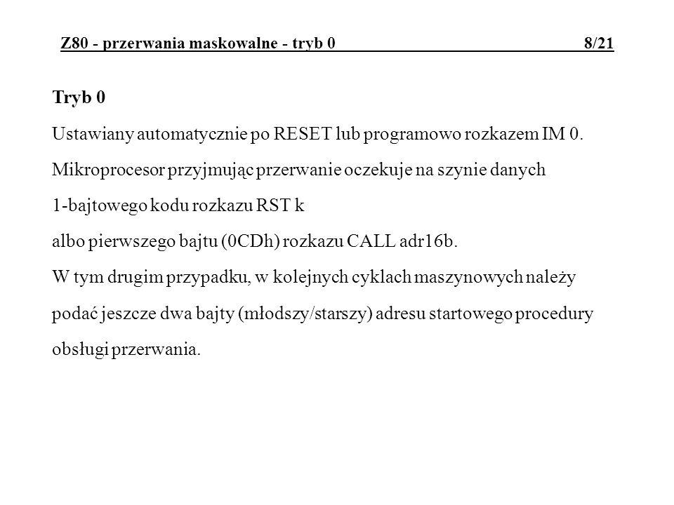 Z80 - przerwania maskowalne - tryb 0 8/21