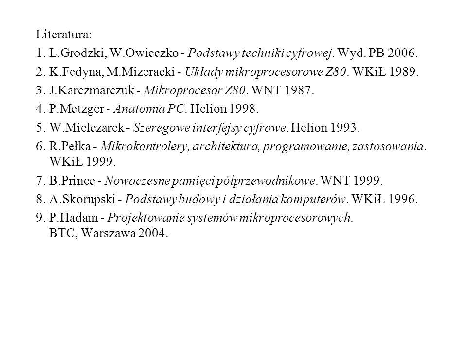 Literatura: 1. L.Grodzki, W.Owieczko - Podstawy techniki cyfrowej. Wyd. PB 2006. 2. K.Fedyna, M.Mizeracki - Układy mikroprocesorowe Z80. WKiŁ 1989.