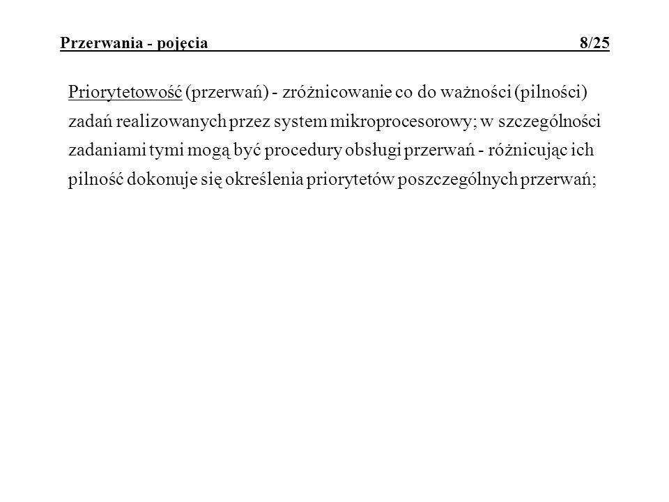 Przerwania - pojęcia 8/25