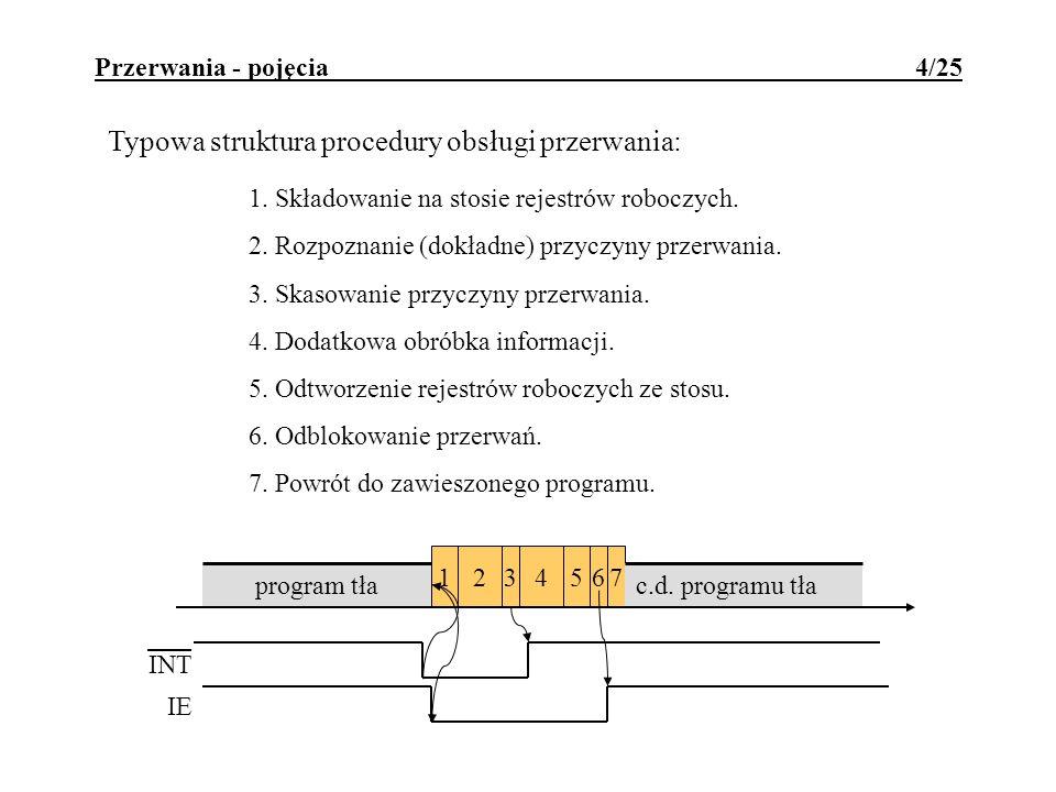 Typowa struktura procedury obsługi przerwania: