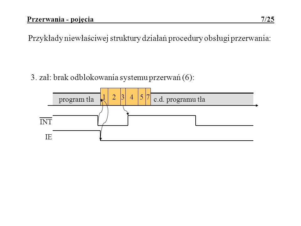 Przykłady niewłaściwej struktury działań procedury obsługi przerwania:
