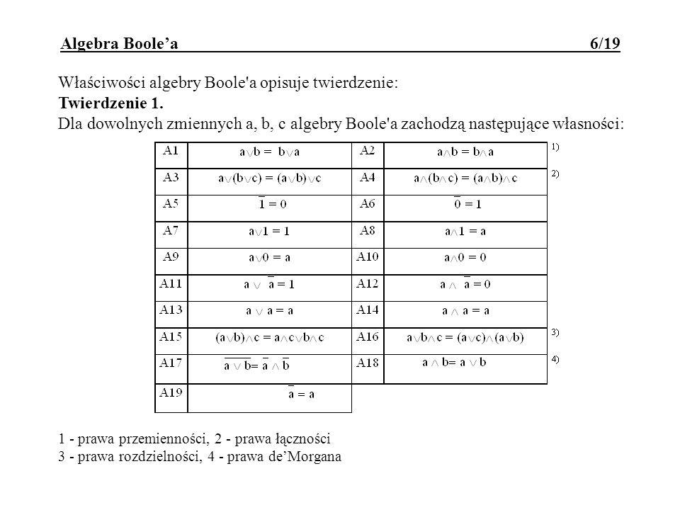 Właściwości algebry Boole a opisuje twierdzenie: Twierdzenie 1.