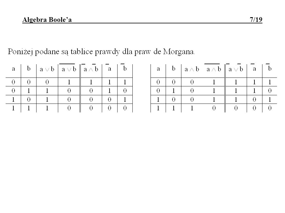 Algebra Boole'a 7/19