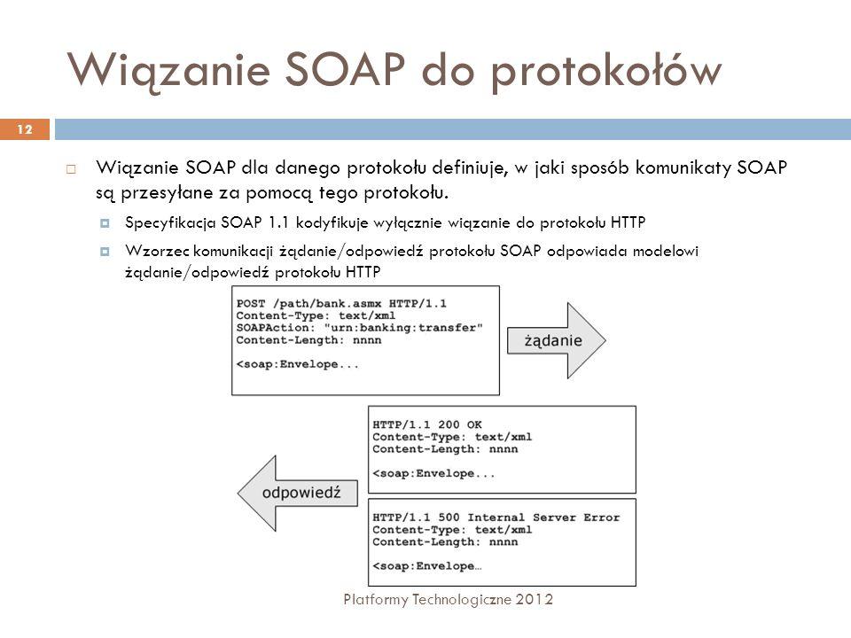 Wiązanie SOAP do protokołów