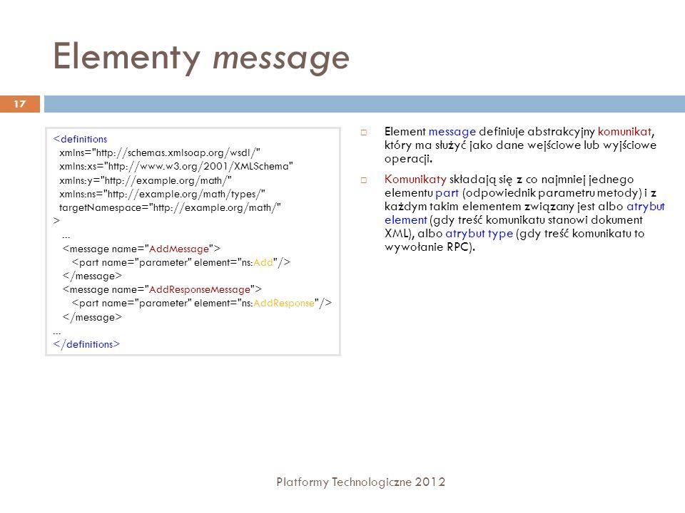 Elementy messageElement message definiuje abstrakcyjny komunikat, który ma służyć jako dane wejściowe lub wyjściowe operacji.