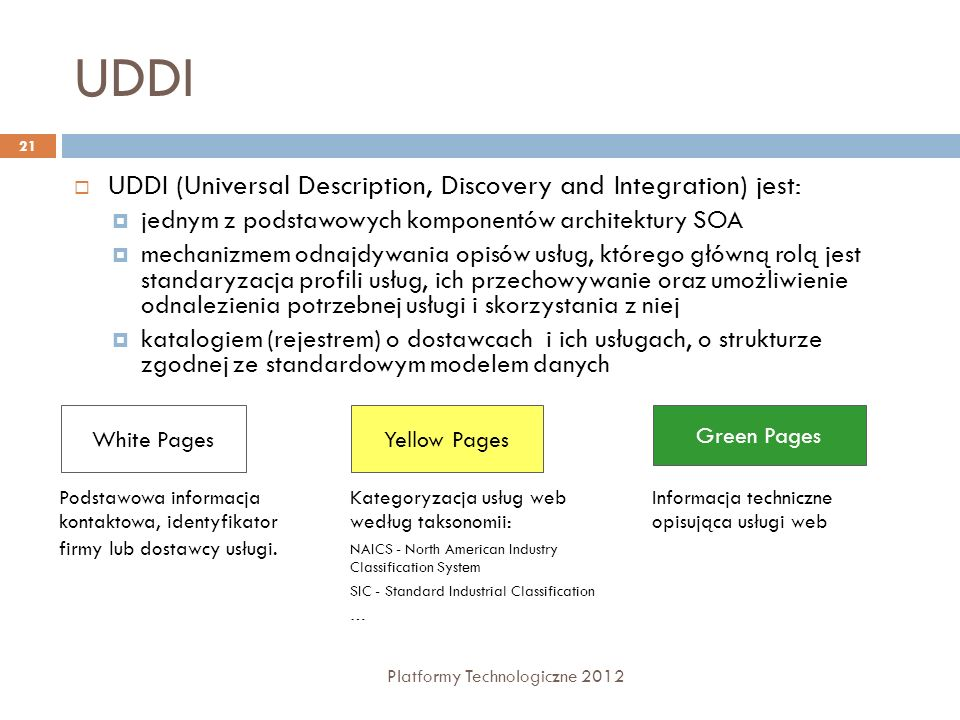 UDDI UDDI (Universal Description, Discovery and Integration) jest: