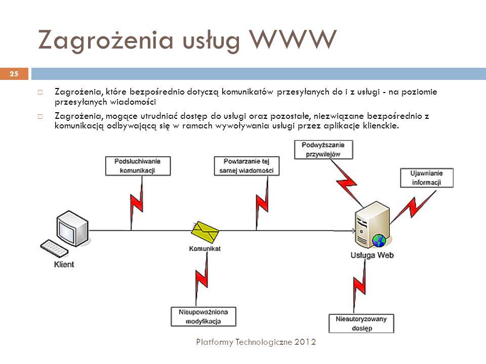 Zagrożenia usług WWW Zagrożenia, które bezpośrednio dotyczą komunikatów przesyłanych do i z usługi - na poziomie przesyłanych wiadomości.