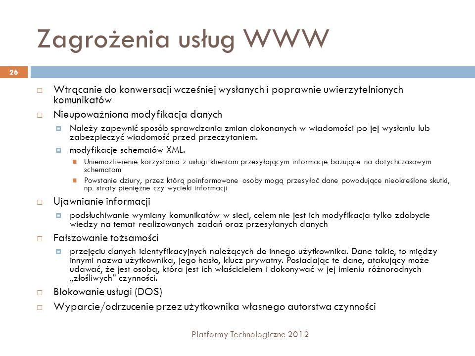 Zagrożenia usług WWWWtrącanie do konwersacji wcześniej wysłanych i poprawnie uwierzytelnionych komunikatów.