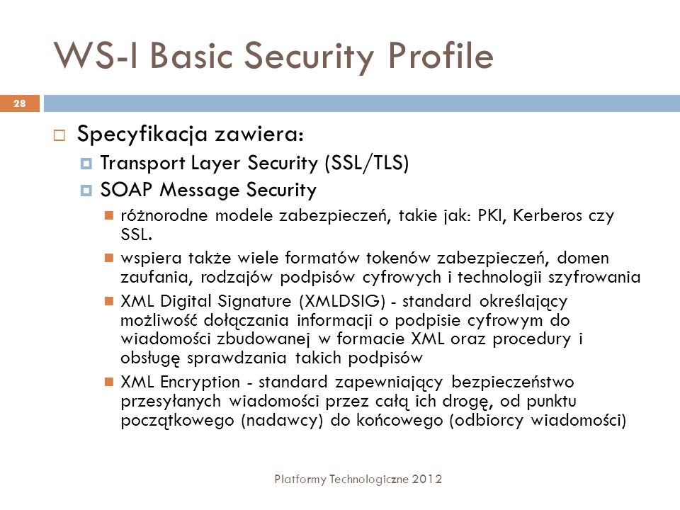 WS-I Basic Security Profile