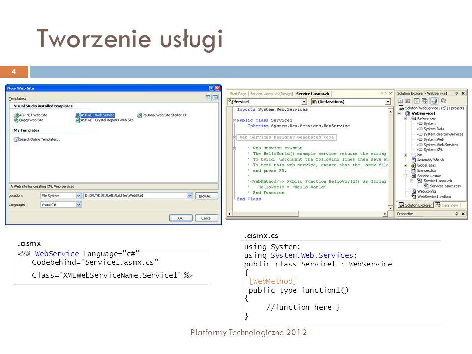 Tworzenie usługi .asmx.cs .asmx Platformy Technologiczne 2012