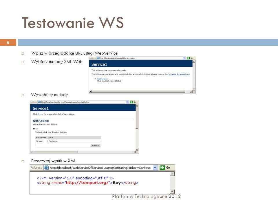 Testowanie WS Platformy Technologiczne 2012