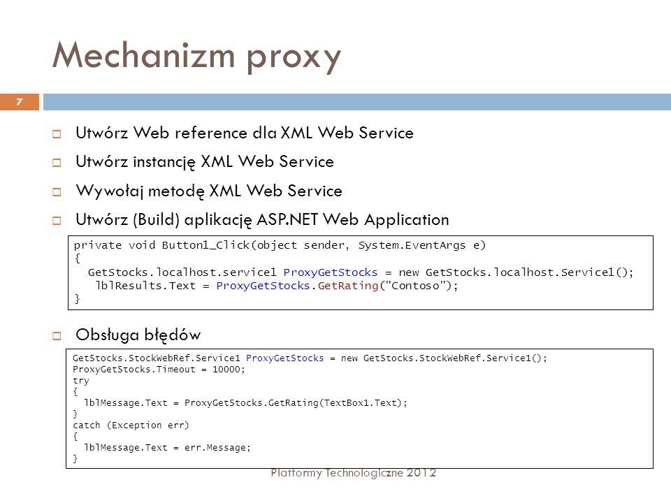 Mechanizm proxy Utwórz Web reference dla XML Web Service