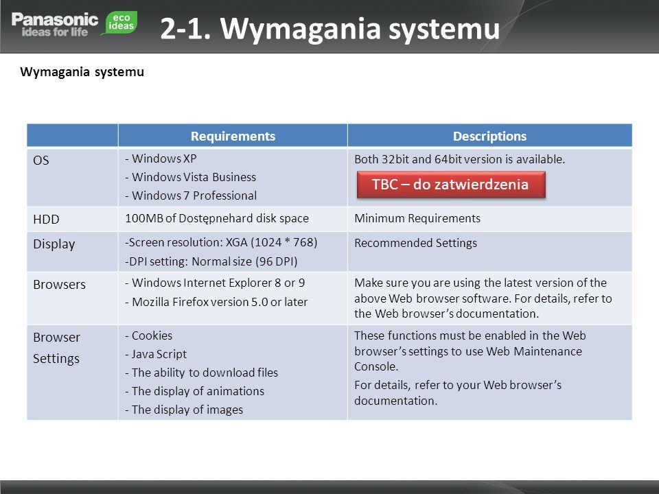 2-1. Wymagania systemu TBC – do zatwierdzenia Wymagania systemu