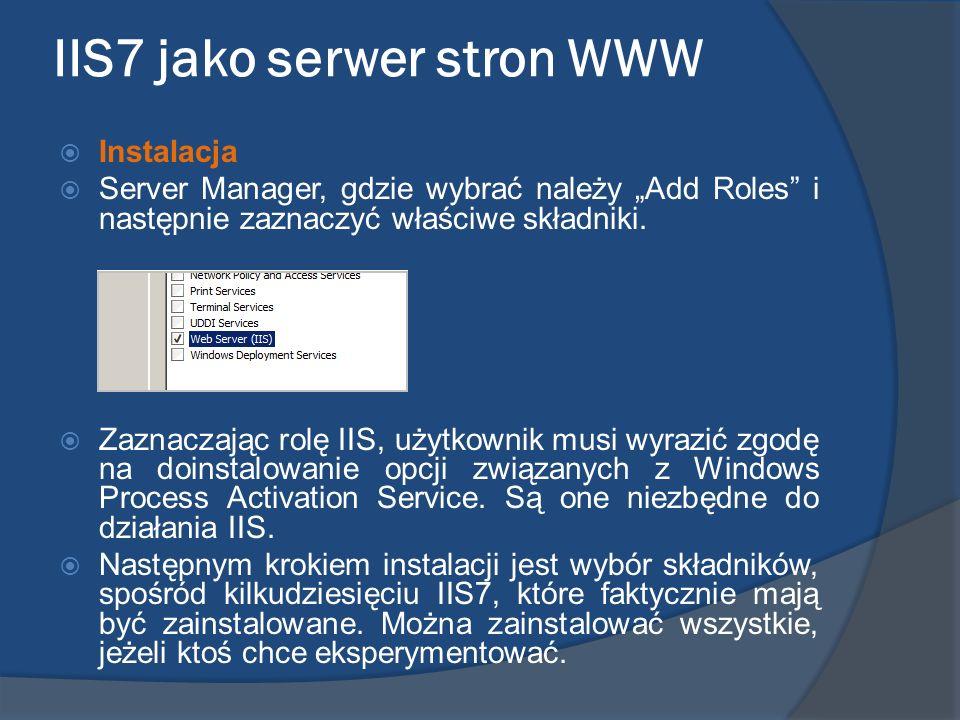 IIS7 jako serwer stron WWW