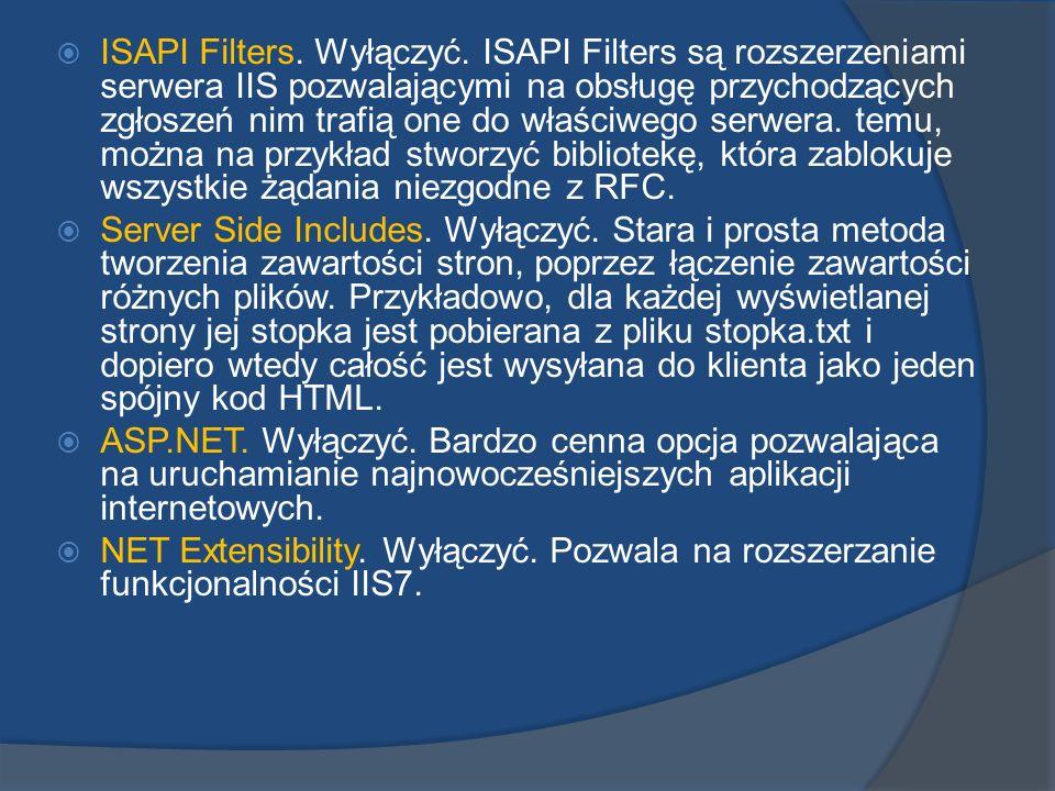 ISAPI Filters. Wyłączyć