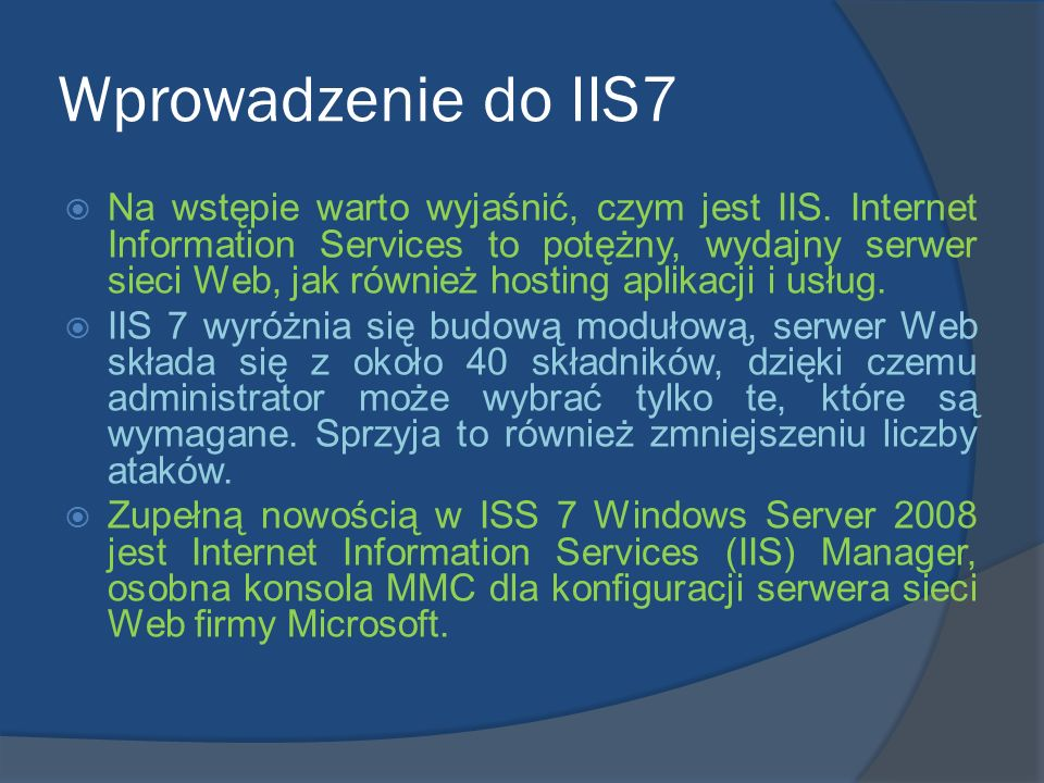Wprowadzenie do IIS7