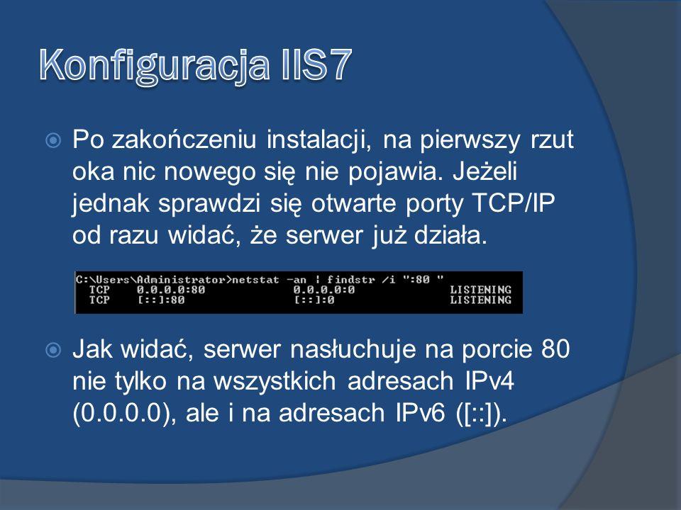 Konfiguracja IIS7