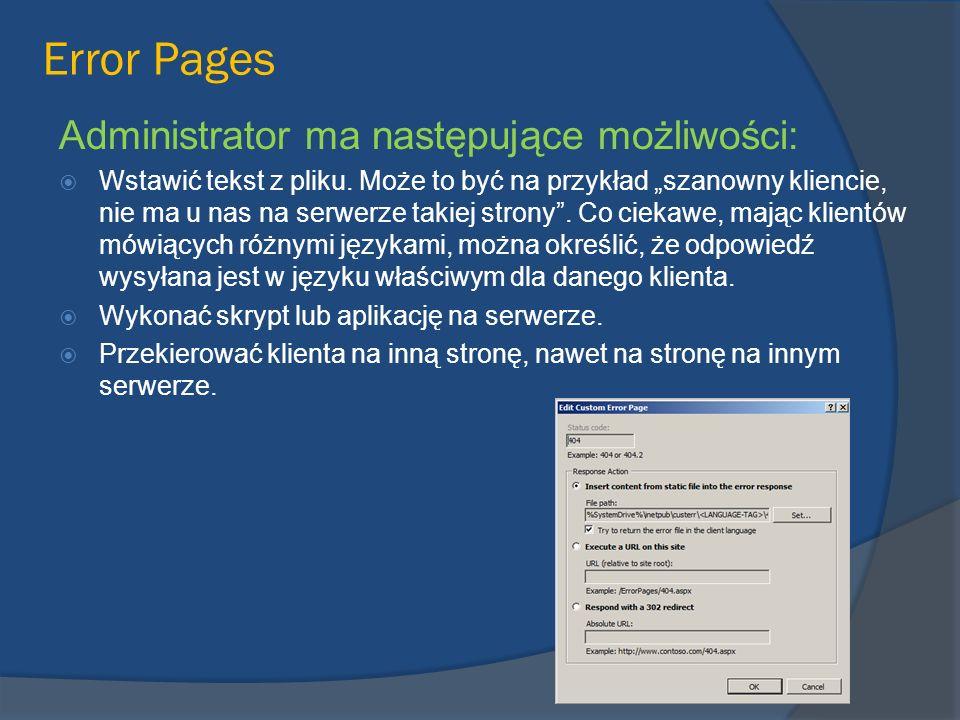 Error Pages Administrator ma następujące możliwości: