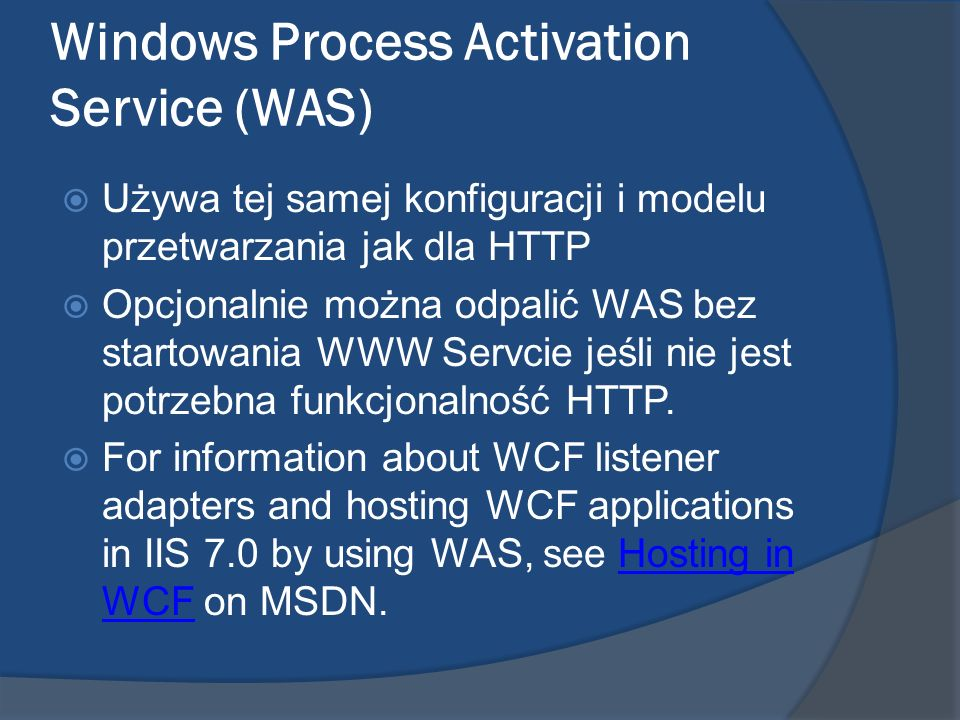 Windows Process Activation Service (WAS)