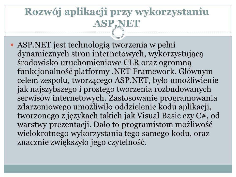 Rozwój aplikacji przy wykorzystaniu ASP.NET