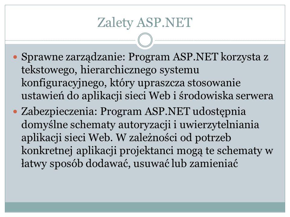 Zalety ASP.NET