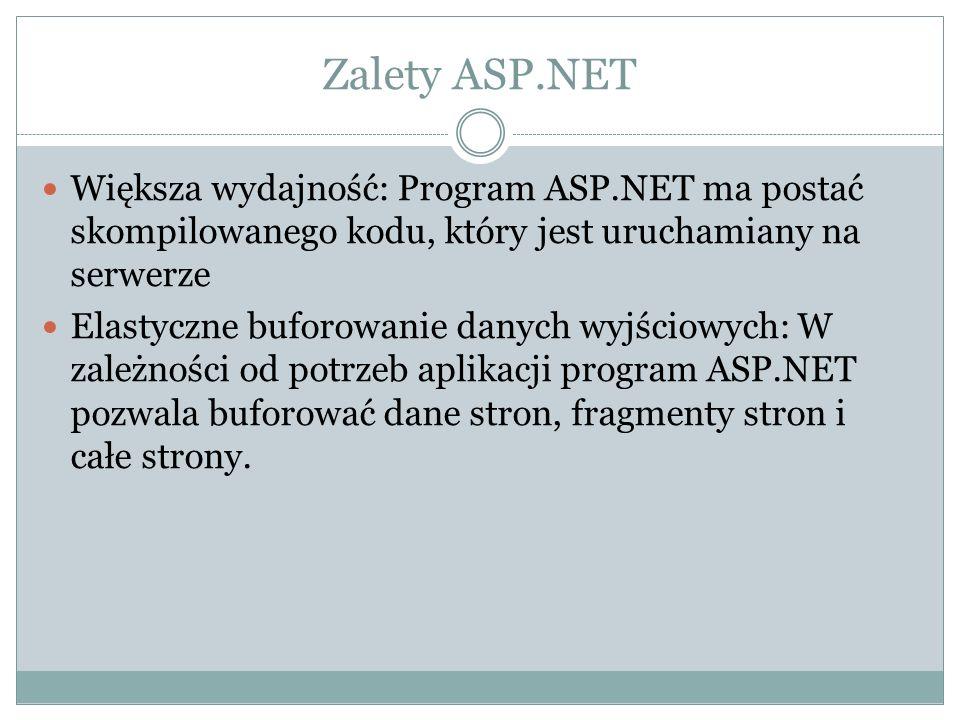 Zalety ASP.NET Większa wydajność: Program ASP.NET ma postać skompilowanego kodu, który jest uruchamiany na serwerze.