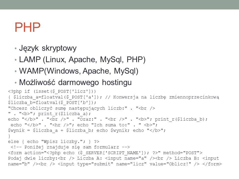 PHP Język skryptowy LAMP (Linux, Apache, MySql, PHP)