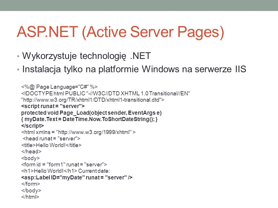 ASP.NET (Active Server Pages)