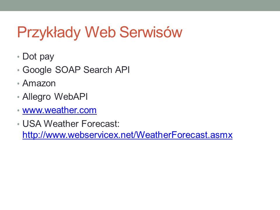 Przykłady Web Serwisów