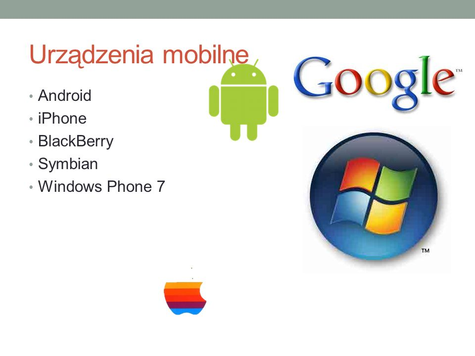 Urządzenia mobilne Android iPhone BlackBerry Symbian Windows Phone 7