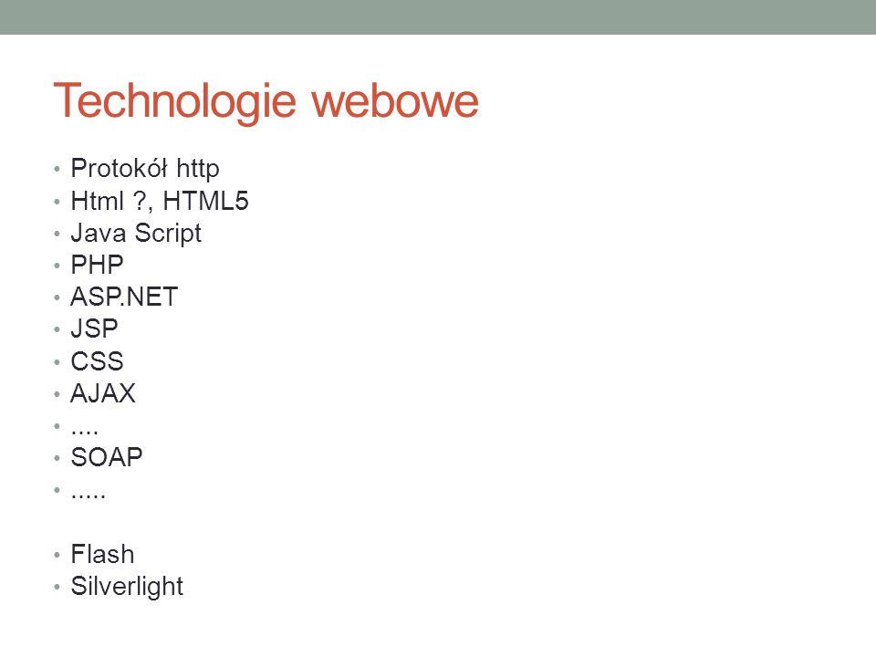 Technologie webowe Protokół http Html , HTML5 Java Script PHP ASP.NET