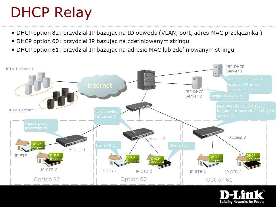DHCP Relay DHCP option 82: przydział IP bazując na ID obwodu (VLAN, port, adres MAC przełącznika )