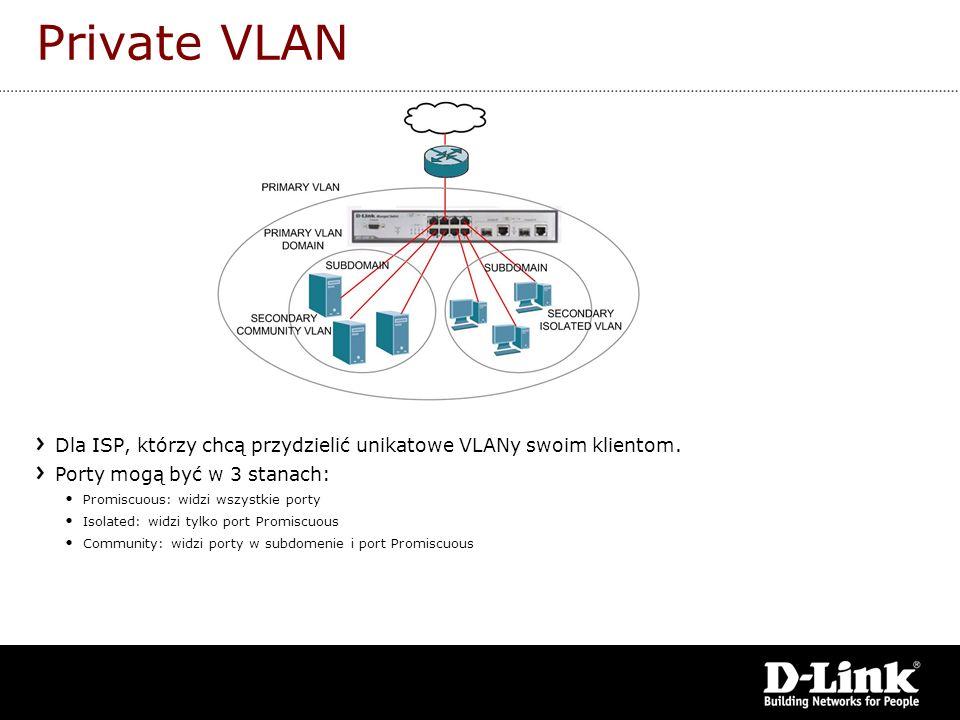 Private VLAN Dla ISP, którzy chcą przydzielić unikatowe VLANy swoim klientom. Porty mogą być w 3 stanach: