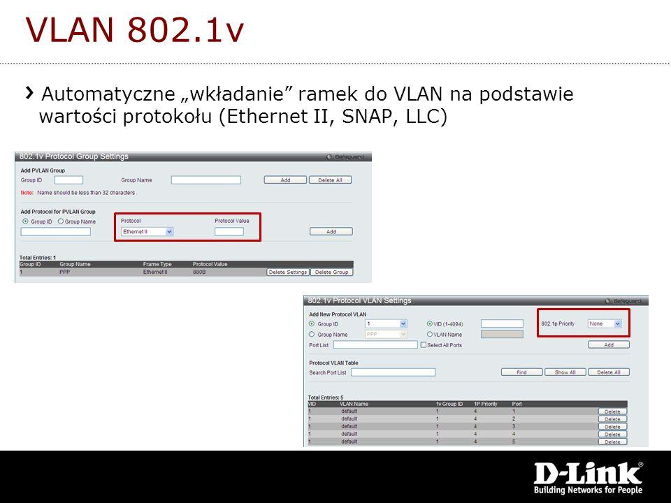 """VLAN 802.1v Automatyczne """"wkładanie ramek do VLAN na podstawie wartości protokołu (Ethernet II, SNAP, LLC)"""