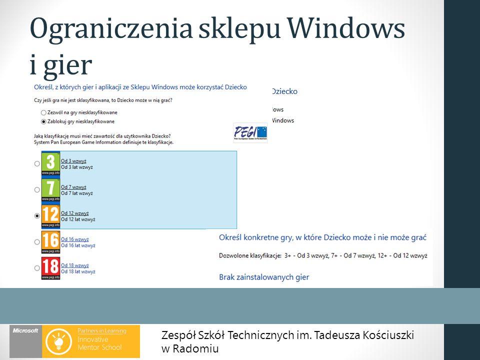 Ograniczenia sklepu Windows i gier