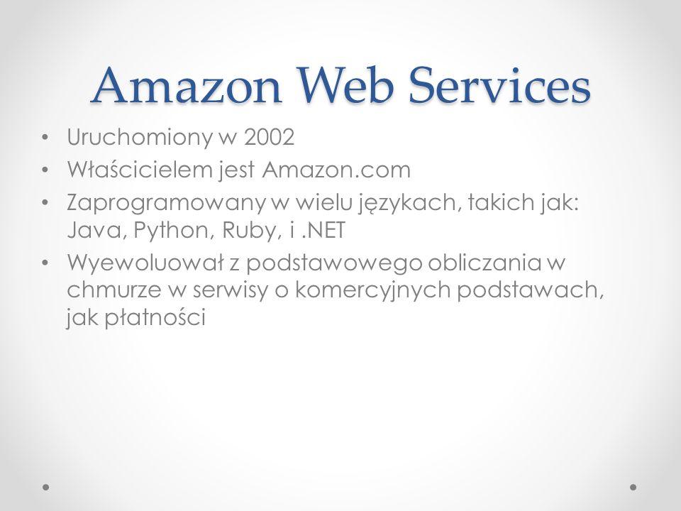 Amazon Web Services Uruchomiony w 2002 Właścicielem jest Amazon.com